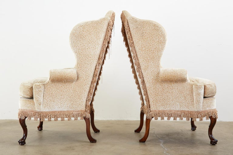Pair of Queen Anne Style Wingback Chairs by Dunbar For Sale 1