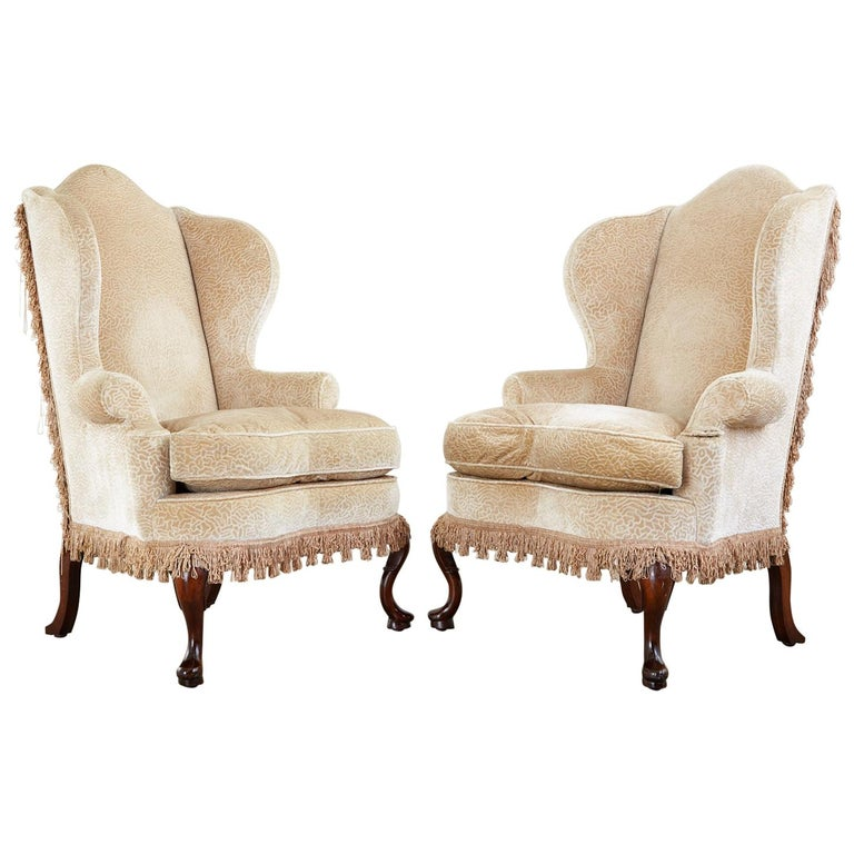 Pair of Queen Anne Style Wingback Chairs by Dunbar For Sale
