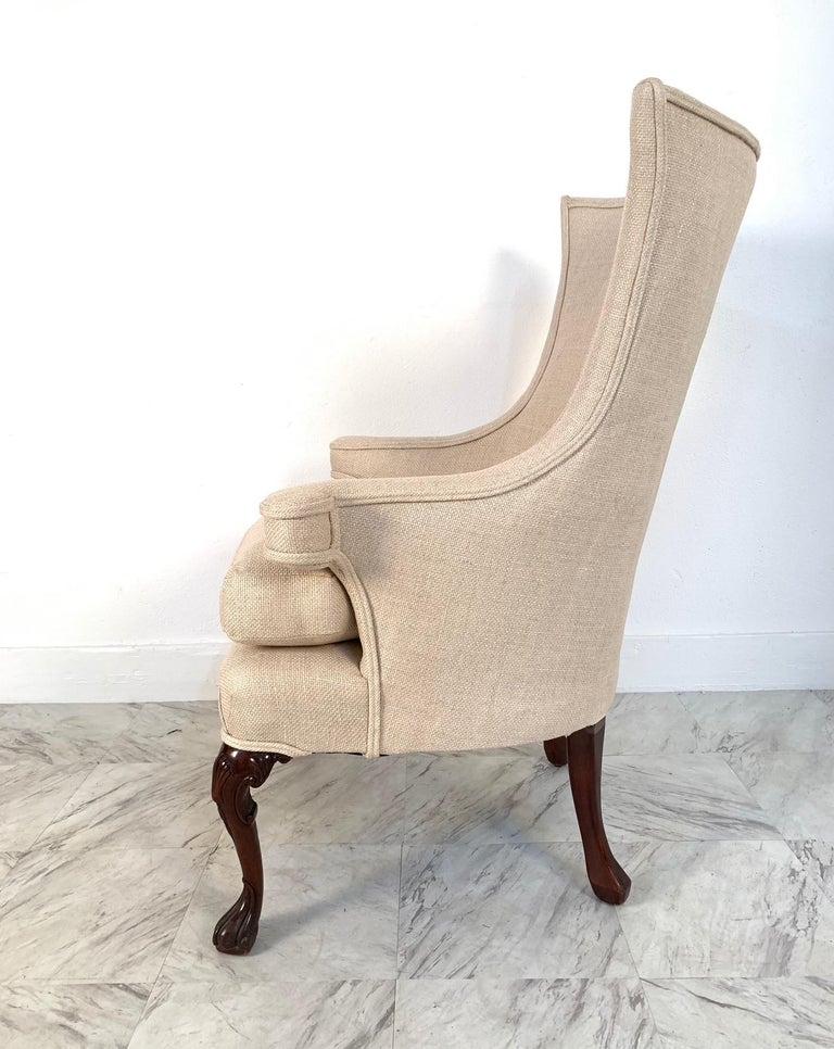 Mid-20th Century Pair of Queen Anne Style Wingback Chairs For Sale