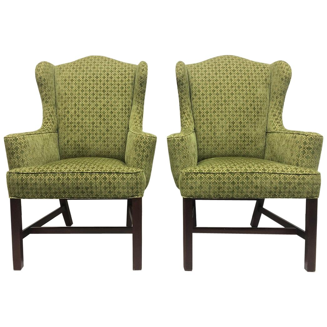 Pair of Queen Anne Style Wingback Chairs