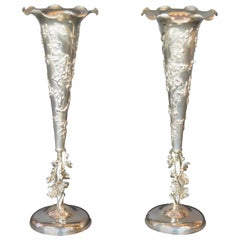 Pair of Quing Dynasty Silver Chinese Vases