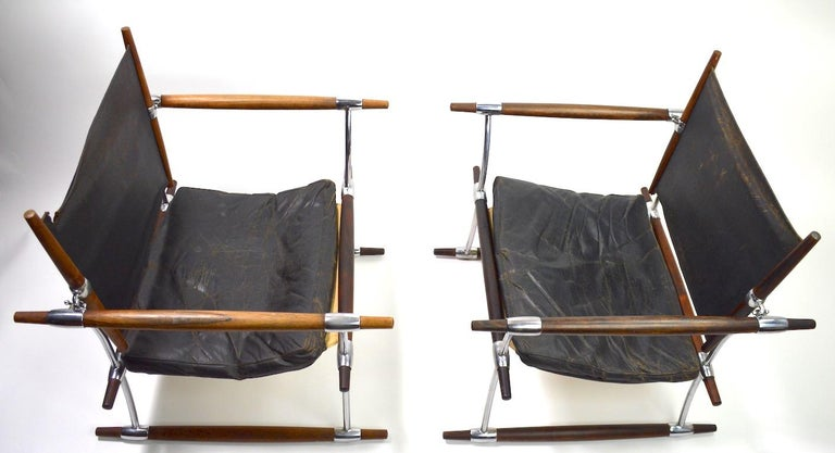 Scandinavian Modern Pair of Quistgaard for Dansk Safari Lounge Chairs For Sale