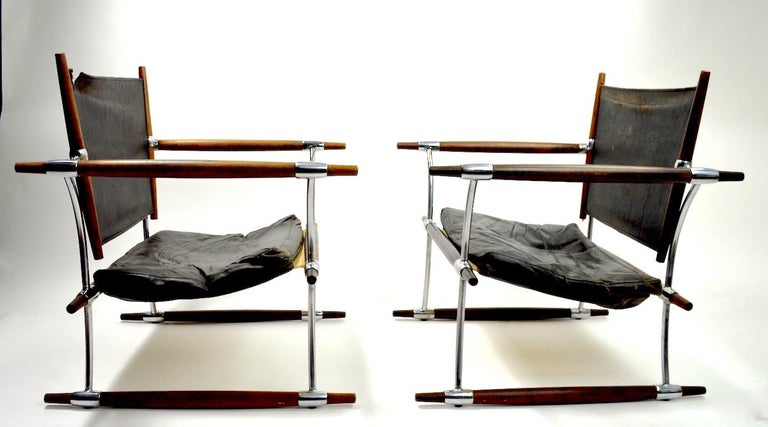 Danish Pair of Quistgaard for Dansk Safari Lounge Chairs For Sale