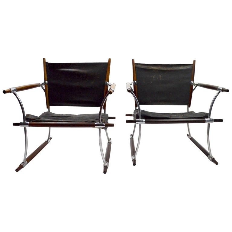 Pair of Quistgaard for Dansk Safari Lounge Chairs For Sale
