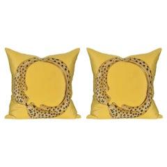 Pair of Rare Vintage Cartier Panther Bracelet Silk Scarf Yellow Linen Pillow