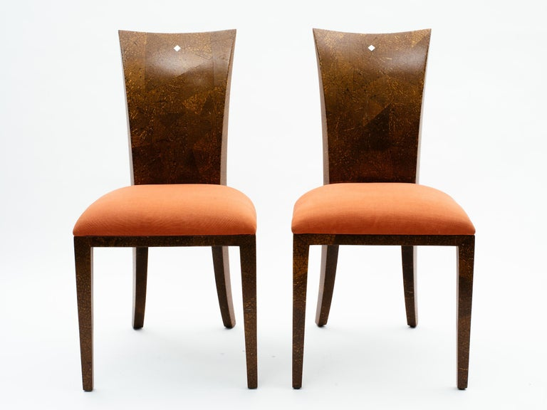 Pair of R & Y Augousti coconut shell chairs with mother-of-pearl inlay detail at top, Paris, France, circa 1990s.