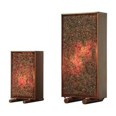 Pair of RAAK Inspired Brass Framed Glass Art Table Lamps
