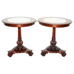 Pair of Ralph Lauren American Mahogany Marble Topped Side End Tables