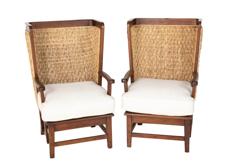 Pair of Ralph Lauren British Colonial style woven back armchairs with new upholstered cushions.