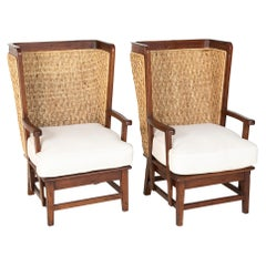 Pair of Ralph Lauren British Colonial Style Woven Back Armchairs