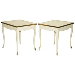 Pair of Ralph Lauren Cannes Estate Large Side Tables Single Drawers Brass Detail