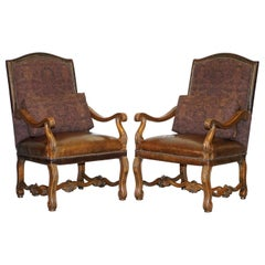 Pair of Ralph Lauren Edmund Brown Leather & Fabric Upholstered Throne Armchairs