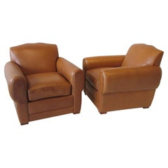Pair of Ralph Lauren for Henredon French Art Deco Style Leather Club Chairs