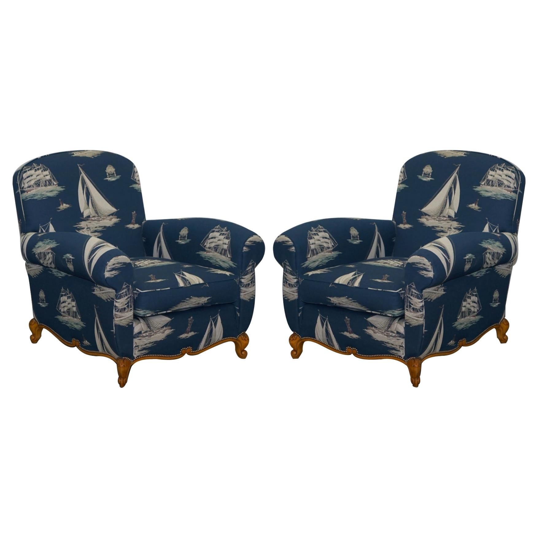 Pair of Ralph Lauren French Club Armchairs Down Easter Boats Nautical Upholstery