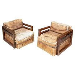 Pair of Ralph Lauren Hewn Oak Frame Sheep Skin Club Chairs
