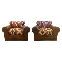Pair of Ralph Lauren Navajo, Kilim Club Chairs