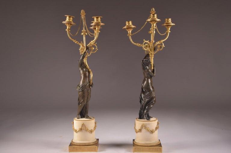 Pair of Rare 18th Century, Louis XVI Ormolu, Candelabra, circa 1785 For Sale 7