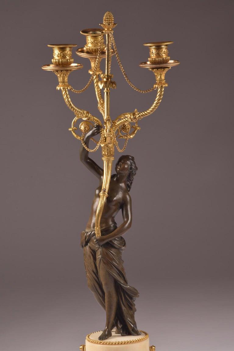 Gilt Pair of Rare 18th Century, Louis XVI Ormolu, Candelabra, circa 1785 For Sale
