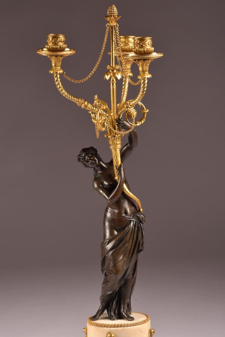 Pair of Rare 18th Century, Louis XVI Ormolu, Candelabra, circa 1785 In Good Condition For Sale In Ulestraten, Limburg