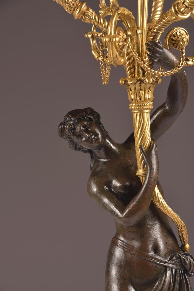 Bronze Pair of Rare 18th Century, Louis XVI Ormolu, Candelabra, circa 1785 For Sale