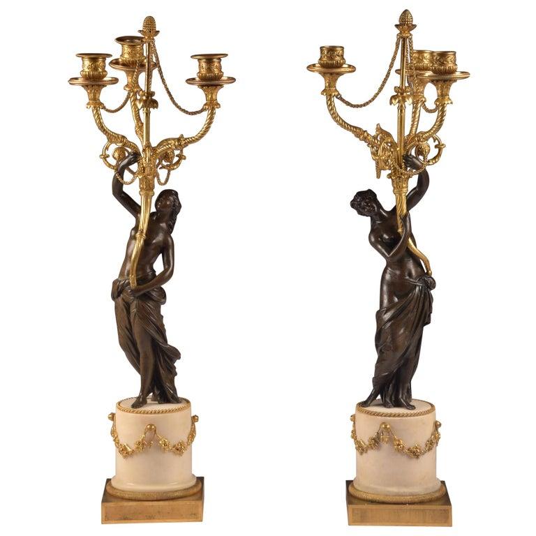 Pair of Rare 18th Century, Louis XVI Ormolu, Candelabra, circa 1785 For Sale