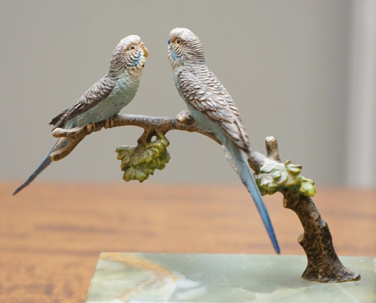 Pair of Rare 1920 Austrian Vienna Cold Painted Bronze Bookends Birds of Paradise For Sale 4