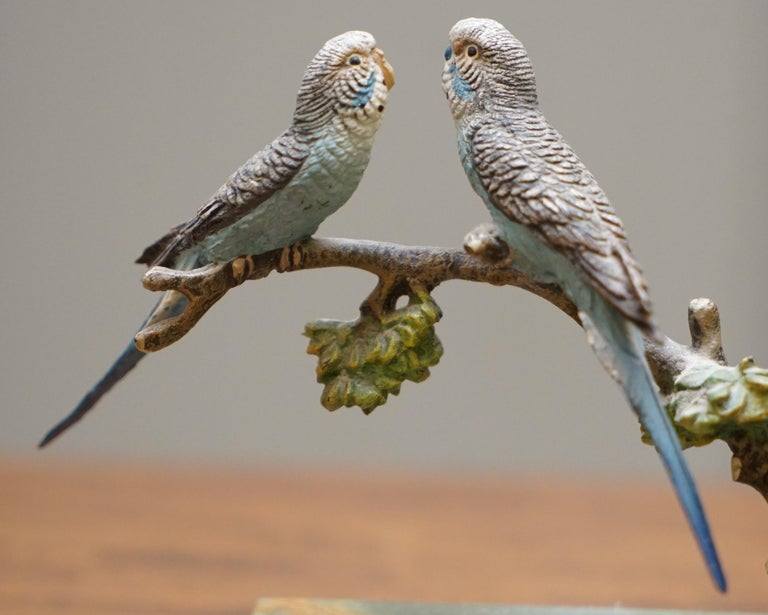 Pair of Rare 1920 Austrian Vienna Cold Painted Bronze Bookends Birds of Paradise For Sale 5