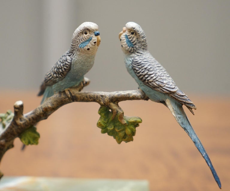 Art Deco Pair of Rare 1920 Austrian Vienna Cold Painted Bronze Bookends Birds of Paradise For Sale