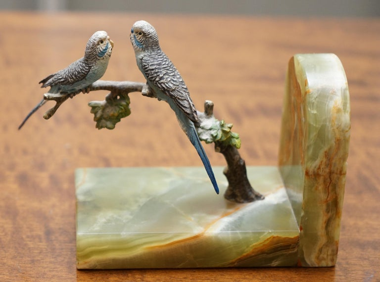 Pair of Rare 1920 Austrian Vienna Cold Painted Bronze Bookends Birds of Paradise For Sale 1