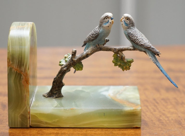 Pair of Rare 1920 Austrian Vienna Cold Painted Bronze Bookends Birds of Paradise For Sale 2