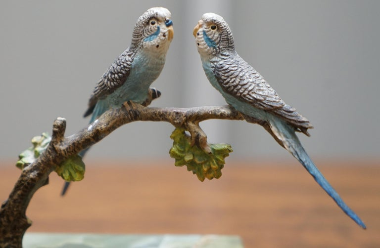 Pair of Rare 1920 Austrian Vienna Cold Painted Bronze Bookends Birds of Paradise For Sale 3