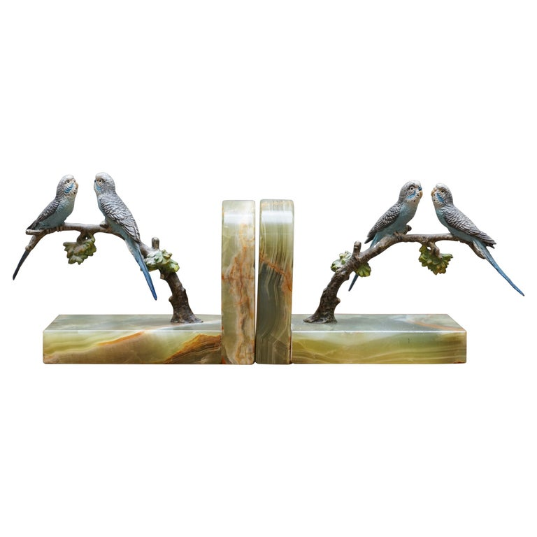 Pair of Rare 1920 Austrian Vienna Cold Painted Bronze Bookends Birds of Paradise For Sale