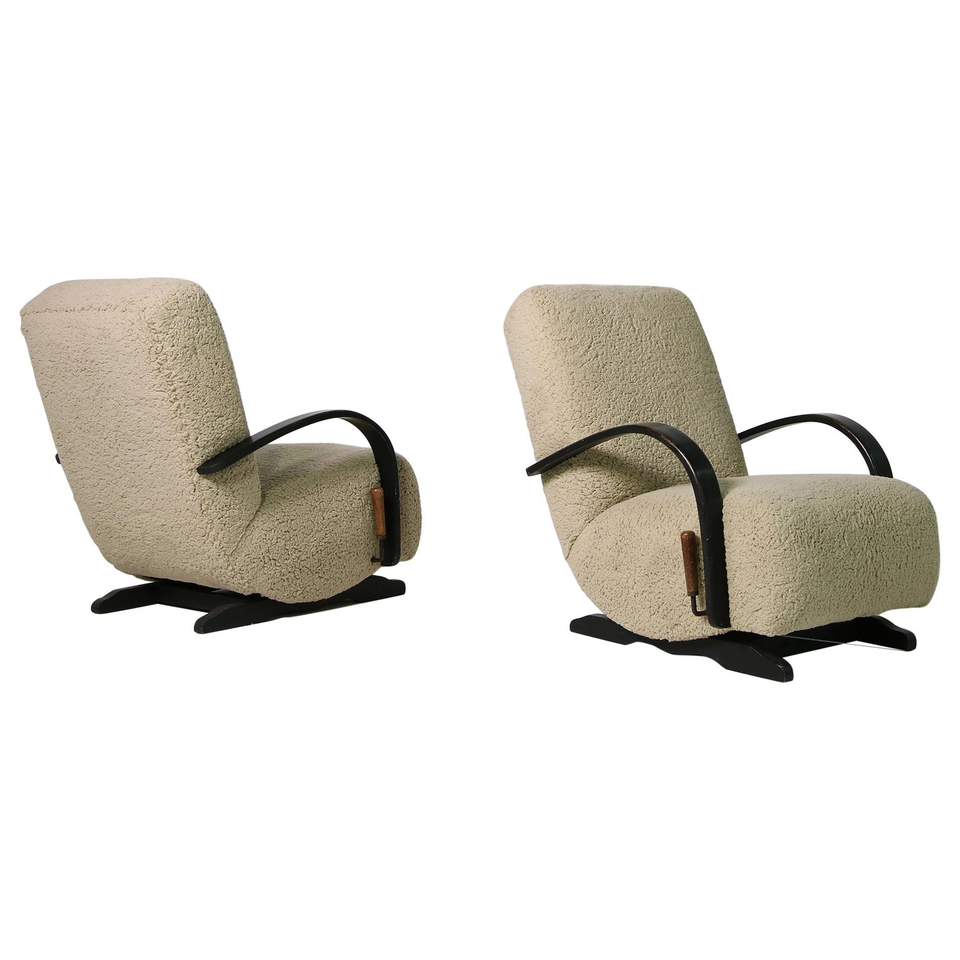 Pair of Rare 1960s Rocking Chairs, Teddy Fur & Leather, Sheepskin, Beech & Pine
