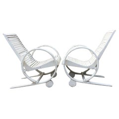 Pair of Rare American Art Deco Garden Lounge Chairs, 1930