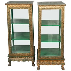 Pair of Rare Antique Glas Cabinets from Thailand