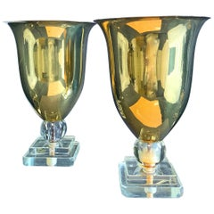 Pair of Rare Art Deco Table Torcheres, Brass, Glass and Lucite