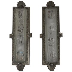 Pair of Rare Art Deco Wall Sconces by Degue, France, circa 1920s