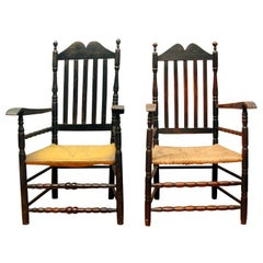 Pair of Rare Bannister Back Armchairs