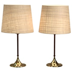 Pair of Rare Bergboms Table Lamps, B-024, Brass and Leather, Sweden, 1950s