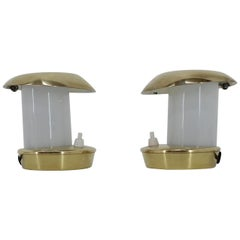 Pair of Rare Brass Glass Bauhaus Table Lamps, 1930s