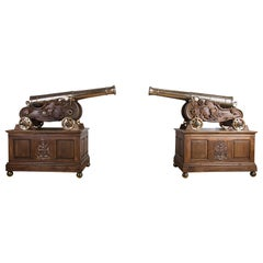 Pair of Rare Bronze Three Pounder Canon