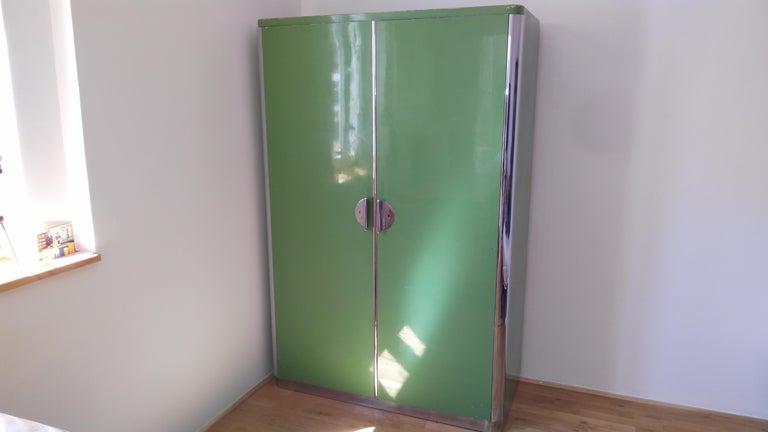 Pair of Rare Chrome Bauhaus Wardrobes For Sale 5