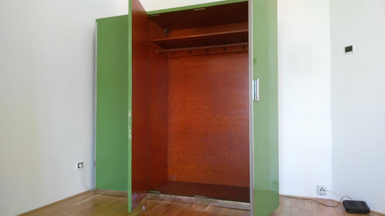 Pair of Rare Chrome Bauhaus Wardrobes For Sale 8