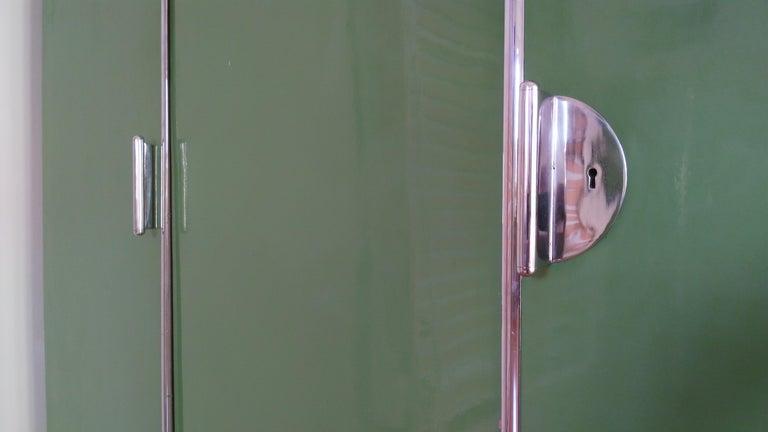Czech Pair of Rare Chrome Bauhaus Wardrobes For Sale