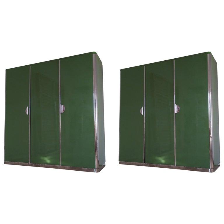 Pair of Rare Chrome Bauhaus Wardrobes For Sale