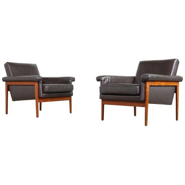 Pair Of Rare Danish 1960s Teak And Dark Brown Leather Lounge Chairs Armchairs For