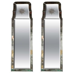 """Pair of Rare Decorative Etched """"Charleston"""" Oblong Beveled Glass Mirrors"""