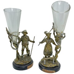 Pair of Rare Early 20th Century Austrian Vienna Bronze Figure Vases, Antique