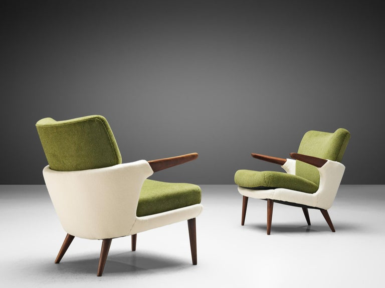 Ib Kofod-Larsen for Christensen and Larsen, pair of easy chairs, model 423, teak and woolen upholstery, Denmark, 1954