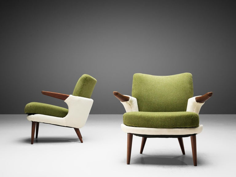 Mid-Century Modern Pair of Rare Easy Chairs by Ib Kofod-Larsen For Sale